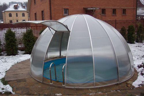Купол для круглого бассейна из поликарбоната своими руками 100