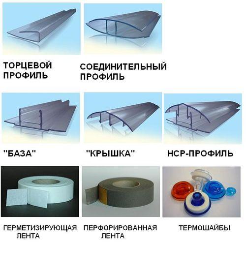 Какие существуют комплектующие для поликарбоната